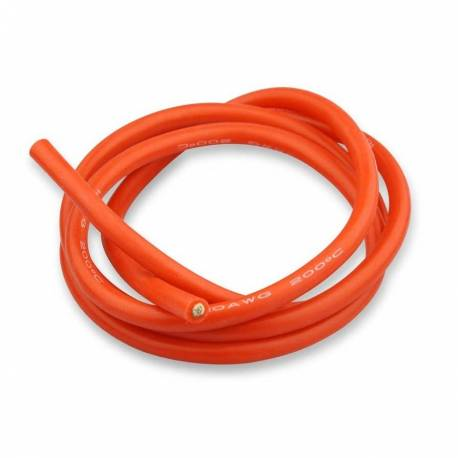Cable Silicone Souple Rouge 10 AWG (1 mètre)
